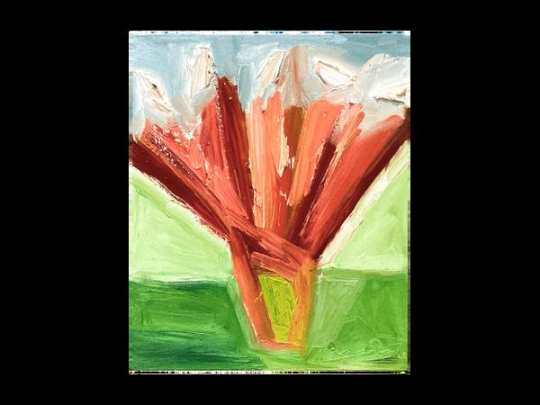 Flowers in Red Vase