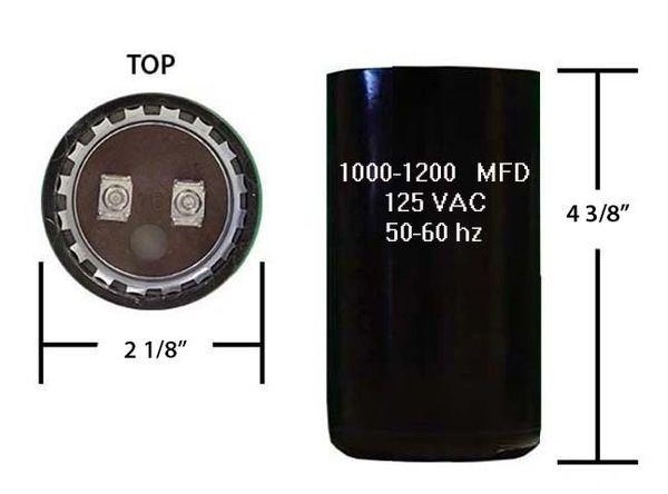 1000-1200 MFD 110/125 VAC motor start capacitor