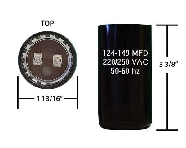 124-149 MFD 250 VAC Motor Start Capacitor
