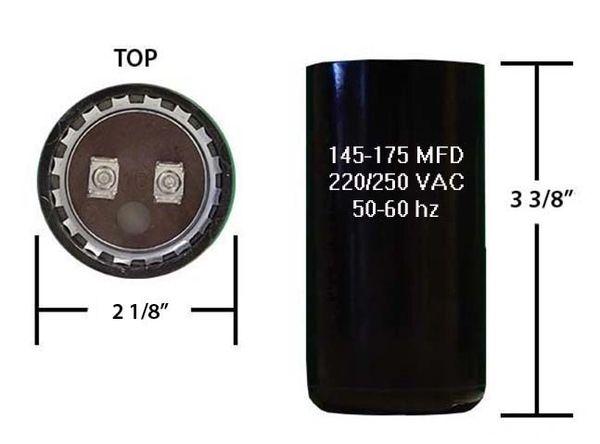 145-175 MFD 250 VAC Motor Start Capacitor