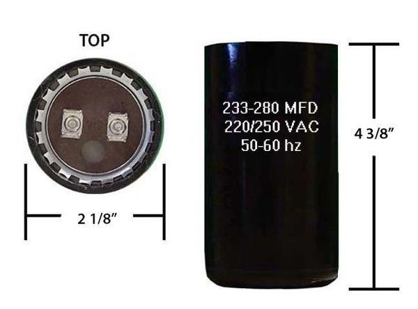233-280 MFD 250 VAC Motor Start Capacitor