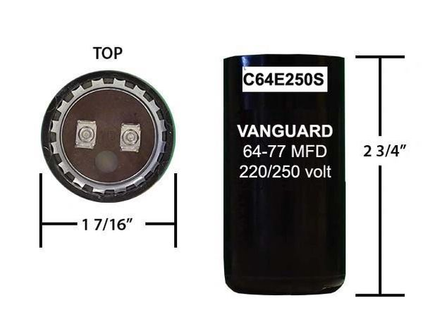64-77 MFD 250 VAC Short Motor Start Capacitor