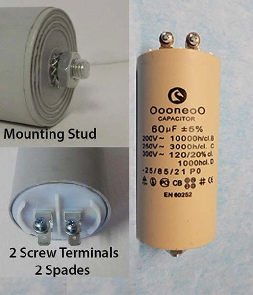 60 MFD 250 Volt Air compressor capacitor with mounting stud