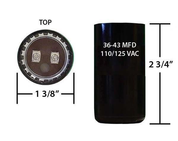 36-43 MFD 110/125 VAC motor start capacitor