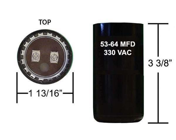 53-64 MFD 330 VAC Motor Start Capacitor