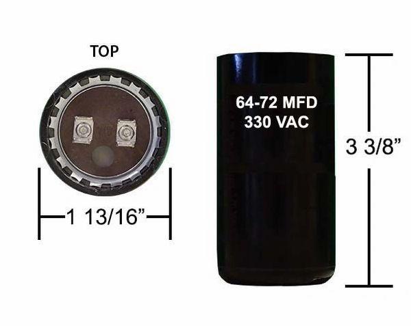 64-77 MFD 330 VAC Motor Start Capacitor