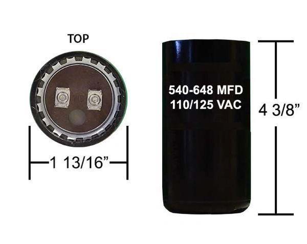 540-648 MFD 110/125 VAC motor start capacitor