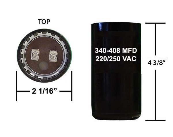 340-408 MFD 250 VAC Motor Start Capacitor