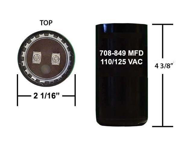 708-849 MFD 110/125 VAC motor start capacitor