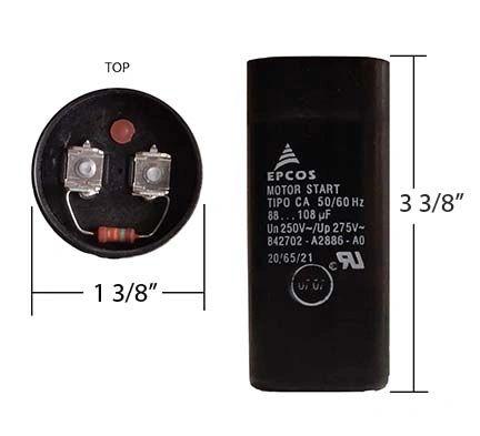 WEG 88-108 MFD 250 Volt Motor Start Capacitor