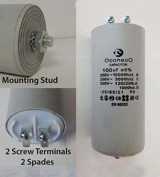 100 MFD 250 VAC air compressor capacitor w/ mounting stud