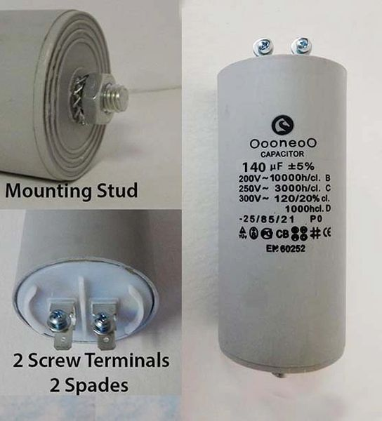 140 MFD 250 VAC Air Compressor capacitor w/ mounting stud