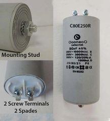 80 MFD 250 Volt Air Compressor Capacitor w/ mounting stud