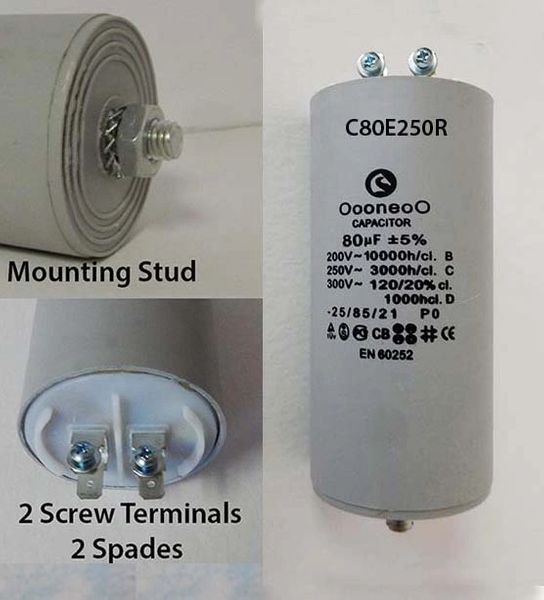 80 MFD 250 Volt Air Compressor Capacitor w/ mounting stud