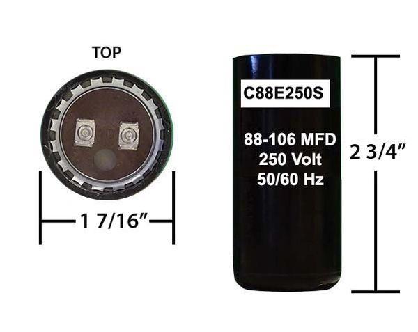 88-106 MFD 250 Volt Short Capacitor