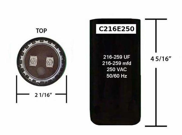 216-259 MFD 250 VAC Motor Start Capacitor