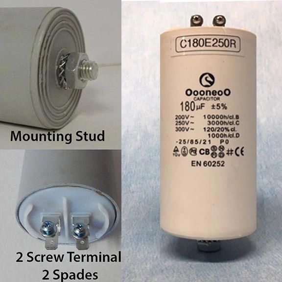 180 MFD 250 VAC Air Compressor capacitor w/ mounting stud