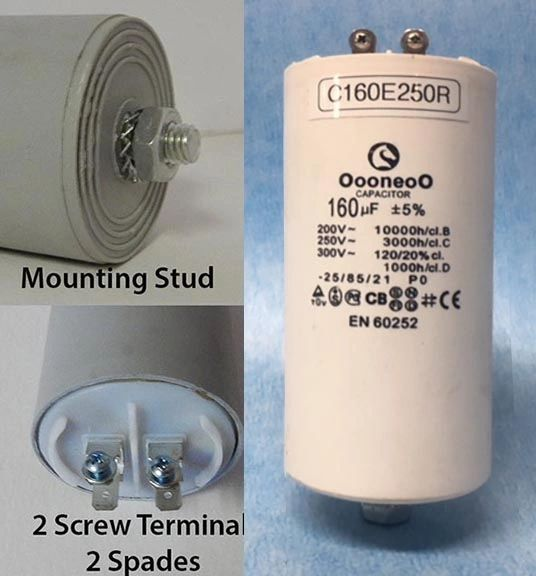 160 MFD 250 VAC Air Compressor capacitor w/ mounting stud