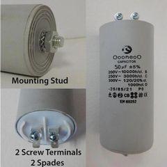 50 MFD 250 VAC Air Compressor capacitor w/ mounting stud