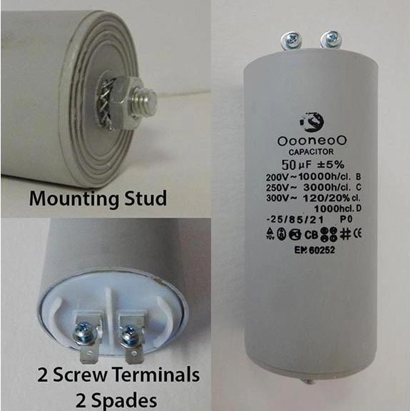 50 MFD 250 VAC Air Compressor capacitor w/ mounting stud