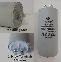 70 MFD 250 VAC Air Compressor capacitor w/ mounting stud