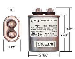 10 MFD 370 VAC Oval Motor Run Capacitor