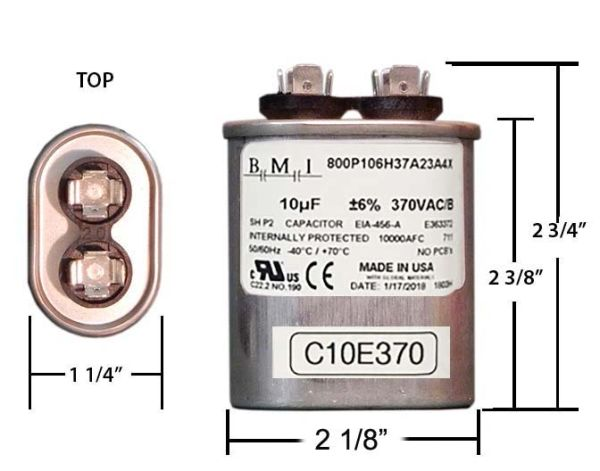 10 MFD 370 VAC Oval Motor Run Capacitor