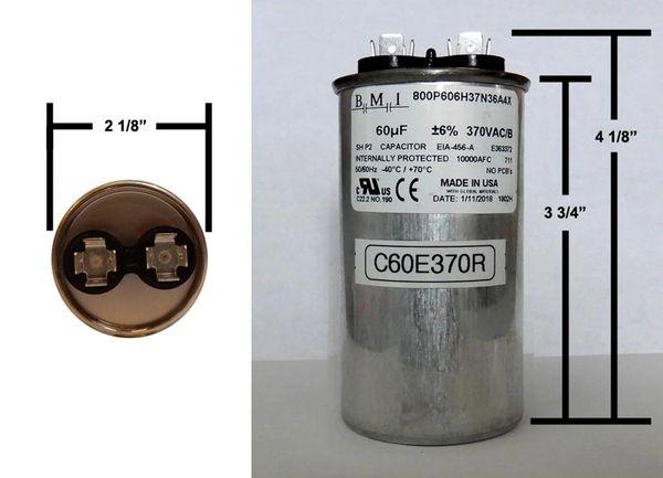 60 MFD 370 VAC Round Run Capacitor