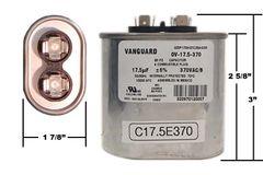 17.5 MFD 370 VAC Oval Motor Run Capacitor