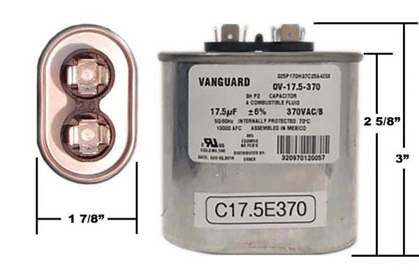 17.5 MFD 370 VAC Oval Motor Run Capacitor