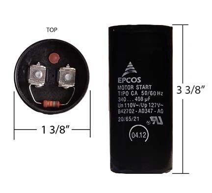WEG 340-408 MFD 110 Volt Motor Start Capacitor