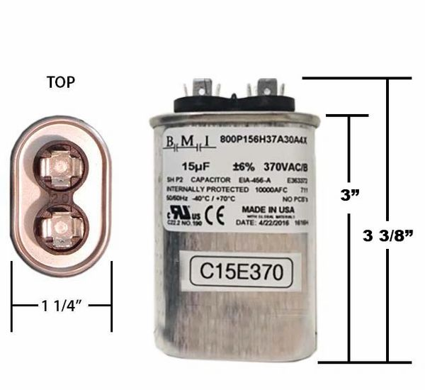 15 MFD 370 VAC Oval Motor Run Capacitor