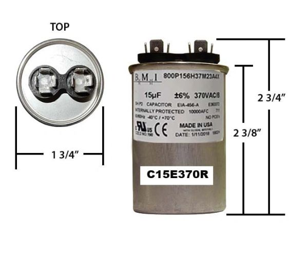 15 MFD 370 VAC Round Run Capacitor