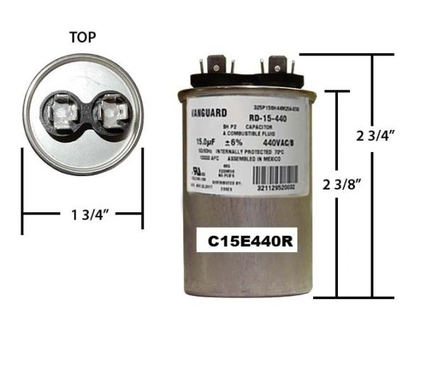 15 MFD 440 VAC Round Run Capacitor