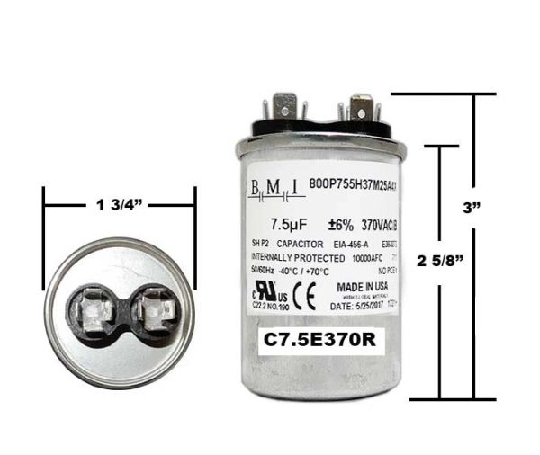 7.5 MFD 370 VAC Round Run Capacitor