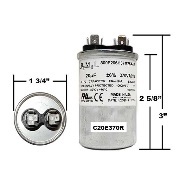 20 MFD 370 VAC Round Run Capacitor