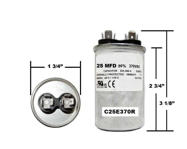 25 MFD 370 VAC Round Run Capacitor