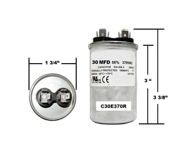 30 MFD 370 VAC Round Run Capacitor