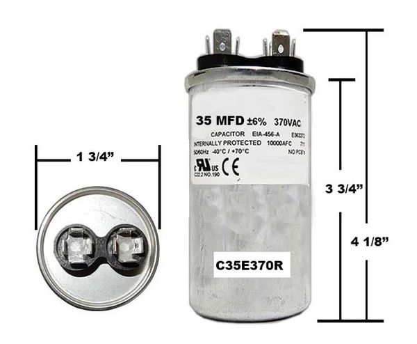 35 MFD 370 VAC Round Run Capacitor