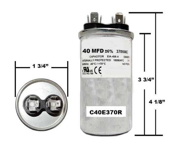 40 MFD 370 VAC Round Run Capacitor