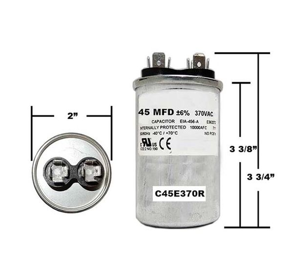 45 MFD 370 VAC Round Run Capacitor