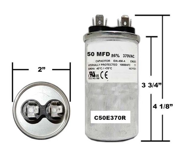 50 MFD 370 VAC Round Run Capacitor