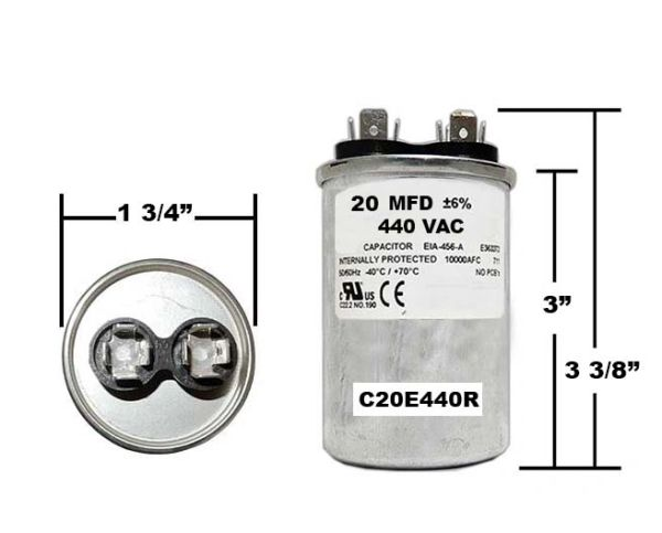 20 MFD 440 VAC Round Run Capacitor