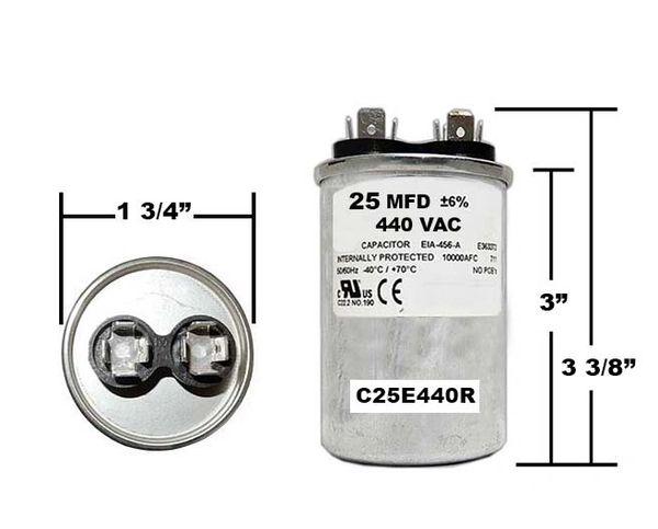 25 MFD 440 VAC Round Run Capacitor