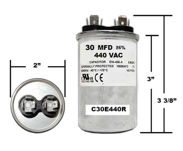30 MFD 440 VAC Round Run Capacitor