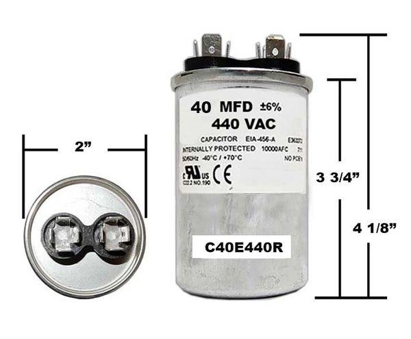 40 MFD 440 VAC Round Run Capacitor
