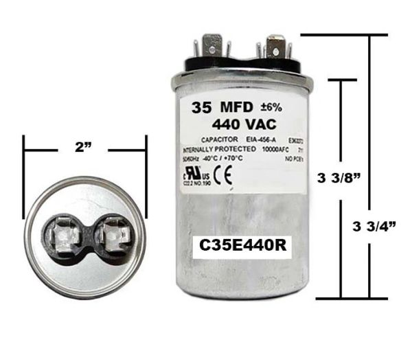 35 MFD 440 VAC Round Run Capacitor