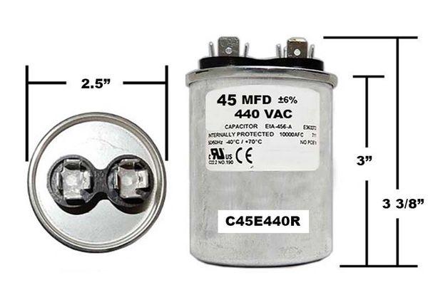 45 MFD 440VAC Round Run Capacitor