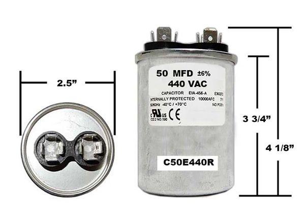 50 MFD 440 VAC Round Run Capacitor