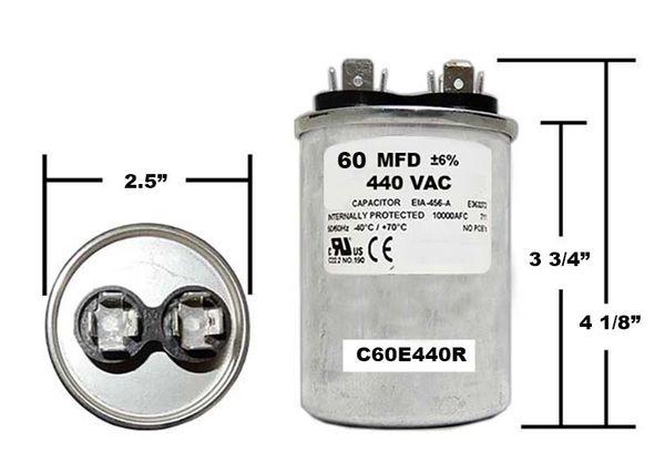 60 MFD 440 VAC Round Run Capacitor